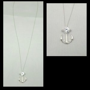 Estate Sterling Silver Diamond Anchor Necklace